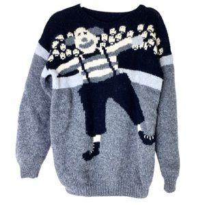 Vintage Circus Clown Handmade Wool Sweater